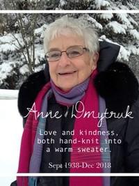 Anne Helen Dmytruk  2018 avis de deces  NecroCanada