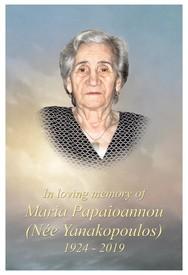 Maria Papaioannou Nee Yanakopoulos avis de deces  NecroCanada
