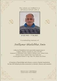 Anilkumar Bhailalbhai Amin  2021 avis de deces  NecroCanada
