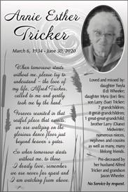 Annie Esther Tricker  March 6 1934  June 30 2020 avis de deces  NecroCanada