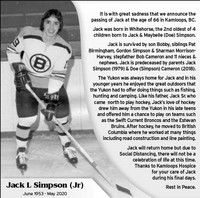 Jack Simpson Jr  2020 avis de deces  NecroCanada