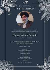 Bhagat Singh Gandhi  2021 avis de deces  NecroCanada
